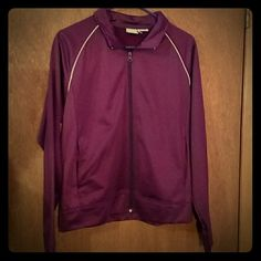 Athletic Works Plum/Raspberry Track Jacket *I've had this jacket for awhile and absolutely love it. It doesn't fit me right anymore so I have to part with it. It had a very cool vintage track style to it and it extremely soft. The tag was itchy so unfortunately I did cut it out. The size is a large but could definitely fit a medium too.  Brand: Athletic Works Size: M/L Color: Deep pink/purple Athletic Works Jackets & Coats