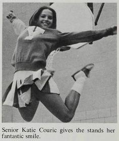 Katie Couric as a senior cheerleader at Yorktown High School in Arlington, VA, 1975 Senior Cheerleader, Cheerleading Uniforms, Cheerleading Jumps, Yearbook Photos, School Photos, Celebrities Then And Now, Famous Celebrities, Cheerleading Pictures, Katie Couric