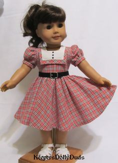 """1950's Coral Plaid Frock for 18"""" AG dolls by KeepersDollyDuds on Etsy $74.49"""