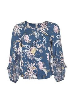 Loobies Story - SIERRA BLOUSE - Hartleys Fashion Bell Sleeve Top, Colour, Cream, Navy, Blouse, Winter, Clothing, Tops, Women