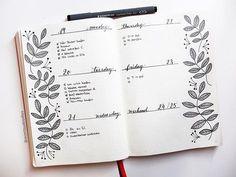 Bujo, Bullet Journal, Inspiration, Idea, Ideen, Bullet Journal Layout, Planner, Weekly, Weeklyspread, Bujoweekly, Wochenübersicht, Woche, Calender, Kalender, floral, leaves, blumen, blätter