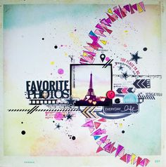 Water color triangles in a half circle. Eiffel Tower. Scrapbook page.