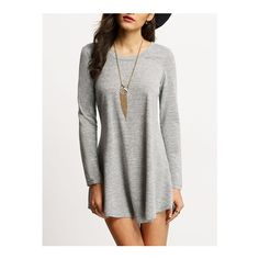 SheIn(sheinside) Grey Scoop Neck T-shirt Dress (455 DOP) ❤ liked on Polyvore featuring dresses, grey, tshirt dress, short grey dress, gray dress, long sleeve shift dress and shift dress
