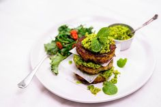 Hoki Hash Fritters with Chilli Herb Smashed Peas and Greens, Olivado Avocado Oil, Avocado Toast, Frozen Peas, Fritters, Sea Salt, Salmon Burgers, Parsley, Kale, Garlic