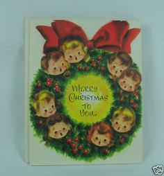 Vintage Christmas Card Sweet Little Children Wreath Puzzle Card | eBay