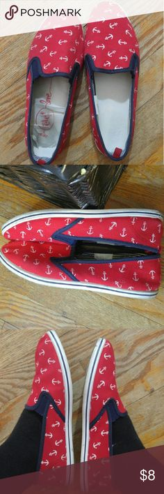 Slip on shoes Cute, comfy, ⚓anchor, 🏊Navy themed shoes. Used condition. Some stains. I haven't tried to clean them up. Ask me to bundle! Rue 21 etc! Shoes Flats & Loafers