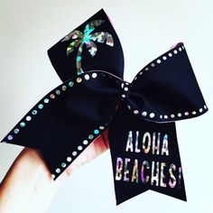 Aloha Beaches Holographic Black Spandex cheer bow Palm tree