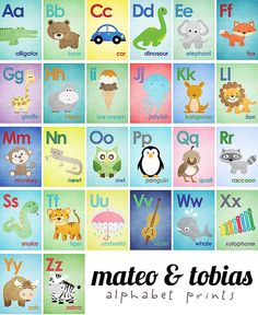 Set of 26 Alphabet Cards - A to Z - Alphabet Wall Art. 5x7 Wall Art - ABC Baby Nursery Children Animal Illustrations Wall Print Poster via Etsy