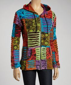 Take a look at this Green & Orange Patchwork Hoodie by Rising International on #zulily today!