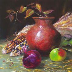 Donna Munsch Fine Art: Original Oil Painting Autumn Clay Pot