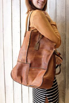 """Handmade Italian vintage Leather Tote bag """"PACH BAG"""" di LaSellerieLimited su Etsy"""