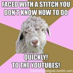YouTube taught me everything I didn't know how to do. Which was crocheting in general. I was taught by Mikey and Theresa! - http://fyeahcrochetgoat.tumblr.com/