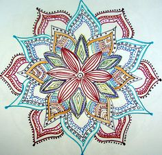 Flower Mandala Drawing by Gladys Childers - Flower Mandala Fine Art Prints and Posters for Sale