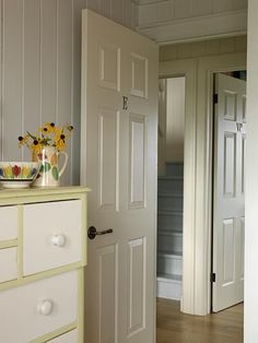 I love Sarah Richardson's style. Really like the very subtle painted panelling. Would look good in MY guest bedroom. Got the paint base already.just add pigment. Modern Cottage, Cottage Style, Cottage House, Sarah Summer, Sarah Richardson, Decoration, Guest Room, Tall Cabinet Storage, Interior Design