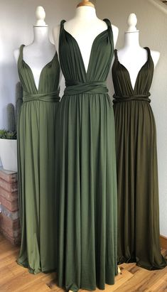 Forest Green Bridesmaid Dresses, Wedding Bridesmaid Dresses, Infinity Dress Bridesmaid, Forest Green Dresses, Bridesmaid Dress Colors, Bridesmaid Ideas, Green Dresses For Wedding, Forest Green Weddings, Olive Green Weddings