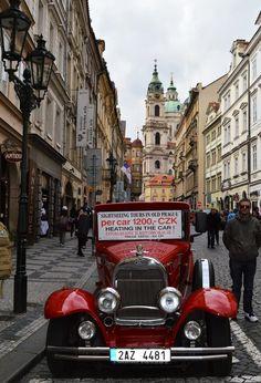 Vintage red car in Prague Prague Castle, Car Ins, Antique Cars, Transportation, Tours, Places, Vintage, Vintage Cars, Vintage Comics