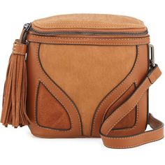 French Connection Heidi Faux-Leather Crossbody Bag ($30) ❤ liked on Polyvore featuring bags, handbags, shoulder bags, nutmeg, brown shoulder bag, zipper shoulder bag, crossbody shoulder bag, vegan purses and faux leather handbags