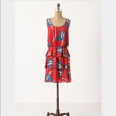 """Anthropologie Sariah Grass Dress Size 10 ❤️ Tiered strawberry silk dress by calligraphy artist Sariah Carson, Silk, back zip, polyester lining. Dry Clean. 35"""" long. $188 originally. Worn once, EUC. Perfect condition. Anthropologie Dresses Midi"""