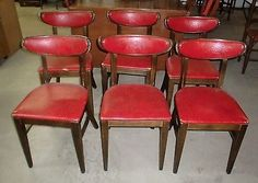 Mid-Century Modern Curved Wood and Vinyl Set of 6 Falcon Dining Chairs Dinette