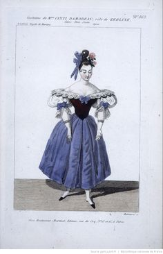 Costume for Mme Cinti-Damoreau's role as Zerlina in Mozart's Don Giovanni. Engraving by Louis Maleuvre, 1834