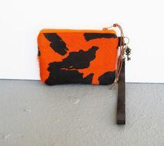 Wristlet Calf Cow Hair Leather Brown Orange Zipper Coin Purse   gmaloudesigns - Bags & Purses on ArtFire
