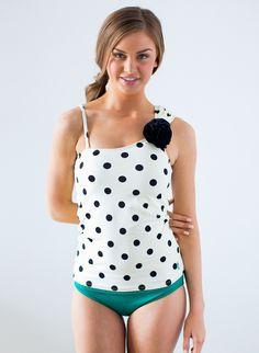 Rosette One-Shoulder Cream Dot Tankini Top | Lime Ricki Swimwear