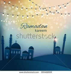 Ramadan greetings background. View of mosque in  blue night background with shiny lights. Vector illustration