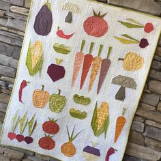 Image of Eat Your Veggies Quilt Pattern Modern Quilt Patterns, Paper Piecing Patterns, Quilt Block Patterns, Pattern Blocks, Modern Quilting, Quilting Ideas, Quilt Blocks, Quilting Board, Quilting Fabric