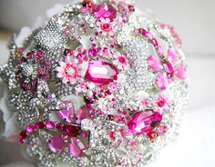 Fuchsia and silver wedding brooch bouquet, Jeweled Bouquet. Made upon request. $290.00, via Etsy.