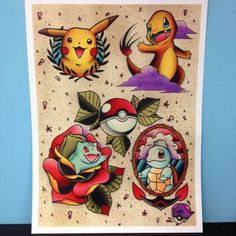 If I were to get a pokemon tattoo, it would definitely have to feature the original 4 Flash Art Tattoos, Tattoo Flash Sheet, Sweet Tattoos, Love Tattoos, Body Art Tattoos, Tattoo Drawings, Nerdy Tattoos, Marvel Tattoos, Tatoos