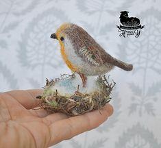Your place to buy and sell all things handmade Flax Fiber, Tiny Bunny, Felt Gifts, Felt Owls, Robin Bird, Felt Material, Needle Felted, Small Sculptures, Felt Brooch
