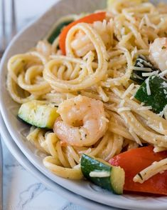 This super easy Shrimp Scampi Zucchini Pasta is the perfect easy summer dinner recipe! This quick and easy Shrimp Scampi Zucchini Pasta is the perfect Summer dish to enjoy with fresh ingredients. Zucchini Pasta Recipes, Shrimp Recipes, Fish Recipes, Easy Shrimp Scampi, Shrimp Pasta, 15 Minute Dinners, Easy Summer Dinners, Summer Dishes, Summer Food