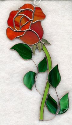 Stained Glass Flower, ROSE Red SUNCATCHER (R042) picclick.com