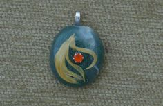 Green moss agate with white quartz, yellow feather and genuine carnelian pendant with sterling silver chain by GodgivenTalent on Etsy
