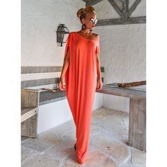 Coral Maxi Dress Coral Kaftan Asymmetric Plus Size Dress Oversize... ($73) ❤ liked on Polyvore featuring dresses