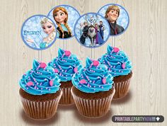 """Frozen Cupcake Toppers - INSTANT DOWNLOAD Disney Frozen Cupcake Toppers - Printable 2"""" Birthday Party Circle Favor Tag matches Invitation"""