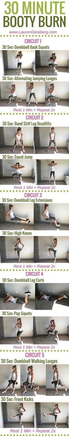 30 MINUTE BOOTY BURN WORKOUT - Day 1 of LG Fitmas Challenge   http://www.LaurenGleisberg.com