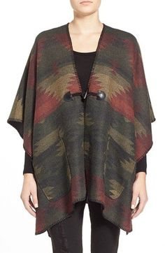 Jolt Stripe Woven Poncho available at #Nordstrom