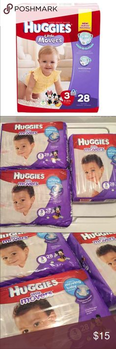 3 packs Huggies Little Mover Size 3 (3) Huggies Little Movers diapers - 28 per pack 84 diapers total.  All new, unopened packs.  Size 3  $27 store value.  Price is firm. Huggies Other