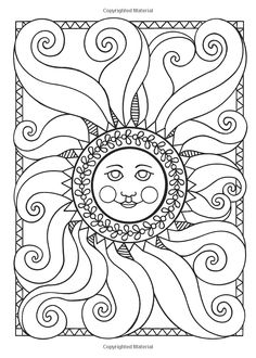 Dover Publications / Let's Color Together -- Sun, Moon and Stars / Maggie… Moon Coloring Pages, Adult Coloring Book Pages, Printable Adult Coloring Pages, Mandala Coloring, Coloring Books, Doodle Art Journals, Sun Art, Illustration, To Color