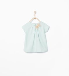 Baby Girl Organic cotton T-shirt with bow from Zara in Blue