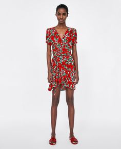 Image 1 of PRINTED CROSSOVER DRESS from Zara