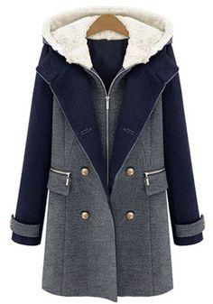 Dark Blue Patchwork False 2-in-1 Hooded Wool Coat