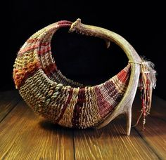 Hammock Style Antler Basket in Reds design and weaving by Mark Hendry for Appalachian Artist Tree. OATree.com