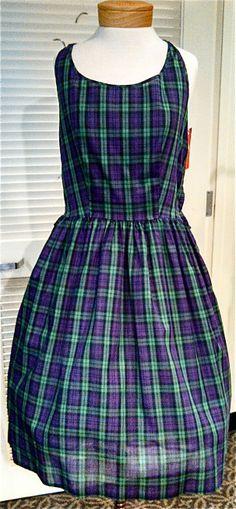 Purple & green plaid 50's dress, $56