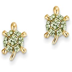 14k Yellow Gold Light Green Crystal Turtle Post Stud Earrings ($47) ❤ liked on Polyvore featuring jewelry, earrings, gold, 14 karat gold stud earrings, yellow gold earrings, 14k gold jewelry, crystal earrings and gold turtle earrings