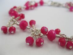 Faceted hot pink Chinese crystal rondelles beads silver finish bracelet - pinned by pin4etsy.com