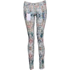 Pre-owned Paige Watercolour effect Skinny Jeans ($120) ❤ liked on Polyvore featuring jeans, multi, colorful skinny jeans, super skinny jeans, colorful jeans, skinny fit denim jeans and multi colored jeans