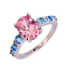 lingmei Wholesale New Fashion Lady Sweet Jewelry Pink Sapphire & Blue Topaz Silver Ring Size 6 7 8 9 10 11 12 13 Free Shipping