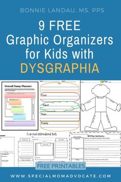 9 Free Graphic Organizers for Kids with Dysgraphia. Free printables to help students who struggle with writing. Dyslexia Activities, Learning Disabilities, Diversity Activities, Handwriting Activities, Vocabulary Graphic Organizer, Writing Graphic Organizers, Essay Planner, Writing Anchor Charts, Writing Skills